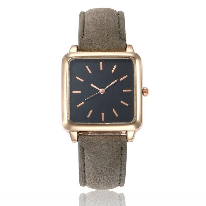 Vesper Black Square Horloge | Grijs