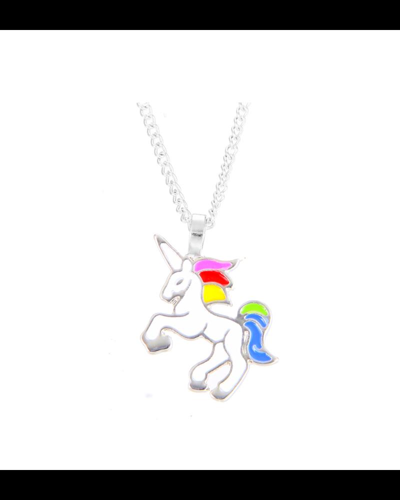 Fashion Favorite Unicorn Rainbow Ketting - Kinder Hanger Zilverkleurig - Regenboog Eenhoorn - 45 + 5 cm -
