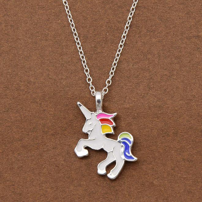 Unicorn Rainbow Ketting - Kinder Hanger Zilverkleurig - Regenboog Eenhoorn - 45 + 5 cm -