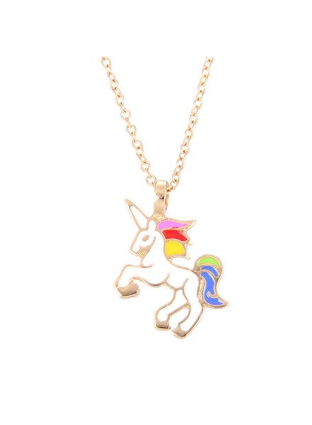 Fashion Favorite Unicorn Rainbow Ketting - Goudkleurig