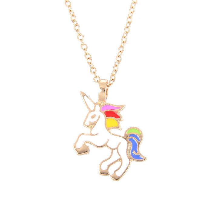 Unicorn Rainbow Ketting - Kinder Hanger Goudkleurig - Regenboog Eenhoorn - 45 + 5 cm -