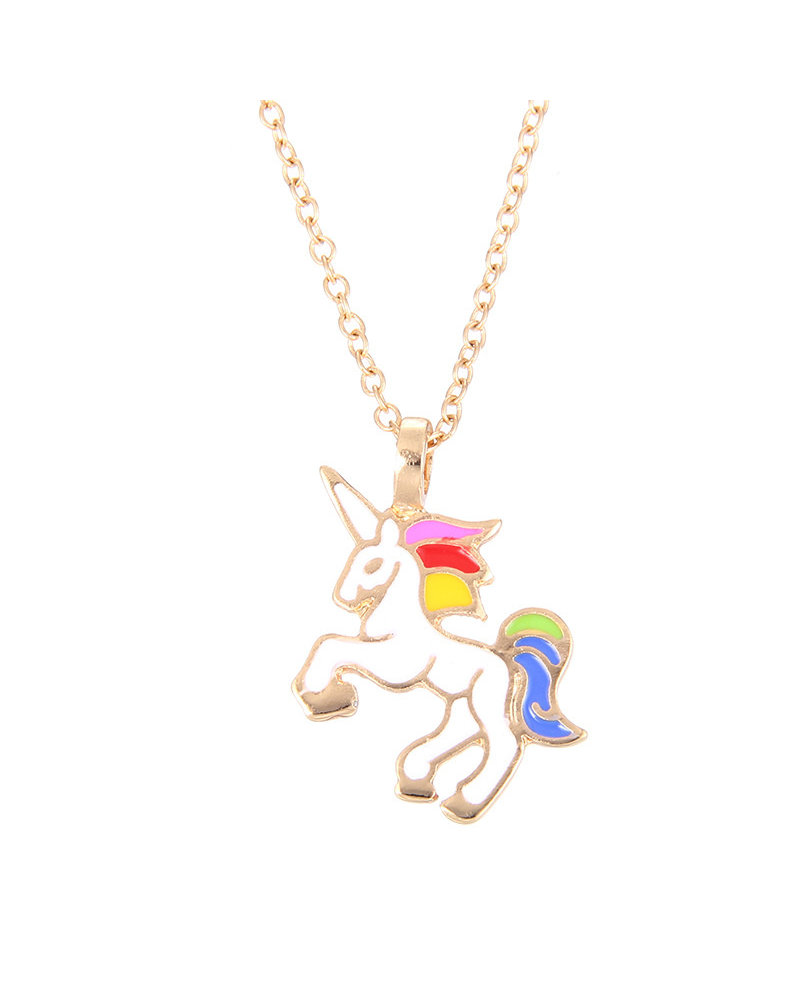 Fashion Favorite Unicorn Rainbow Ketting - Kinder Hanger Goudkleurig - Regenboog Eenhoorn - 45 + 5 cm -