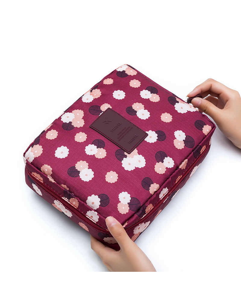 Fashion Favorite Travel 'Red Flower' Toilettas | Make Up Organizer/Travel Bag/Reistas
