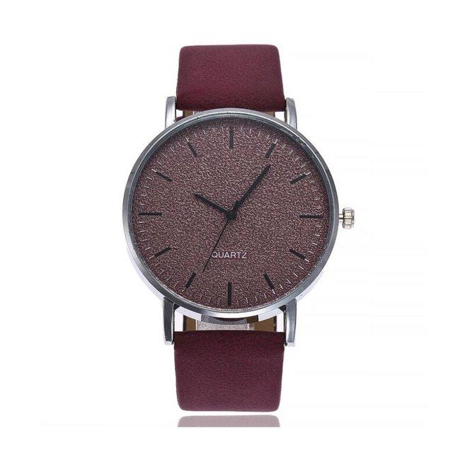 Stone Wine Red Quartz Horloge | Rood | PU Lederen Band