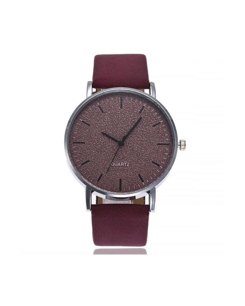 Fashion Favorite Stone Wine Red Quartz Horloge | Rood | PU Lederen Band