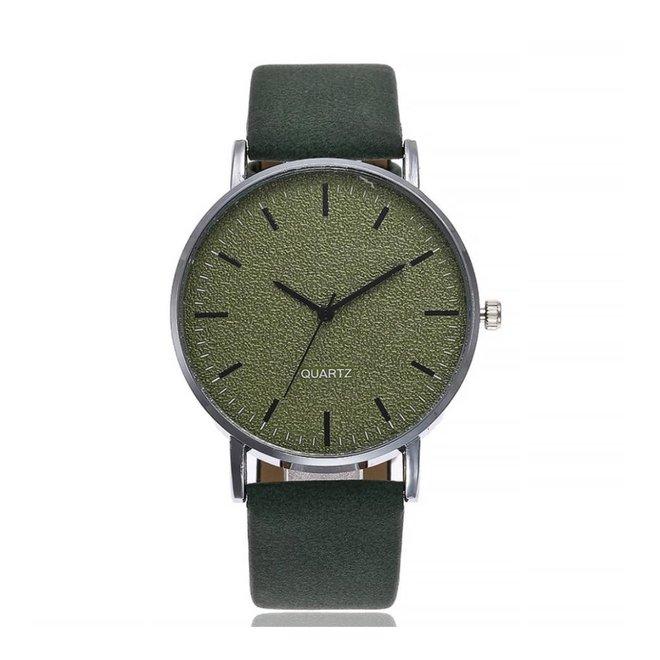 Stone Green Quartz Horloge | Groen | PU Lederen Band |