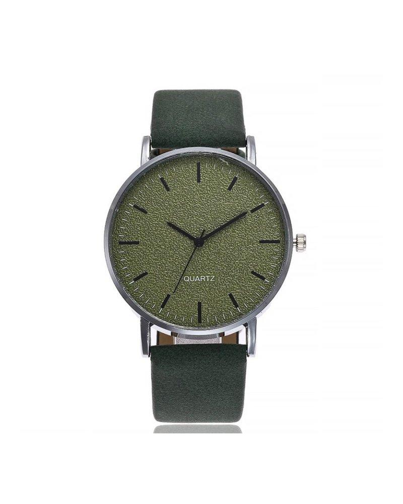 Fashion Favorite Stone Green Quartz Horloge | Groen | PU Lederen Band |