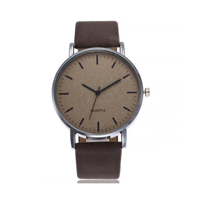 Stone Dark Brown Quartz Horloge | Bruin | PU Lederen Band
