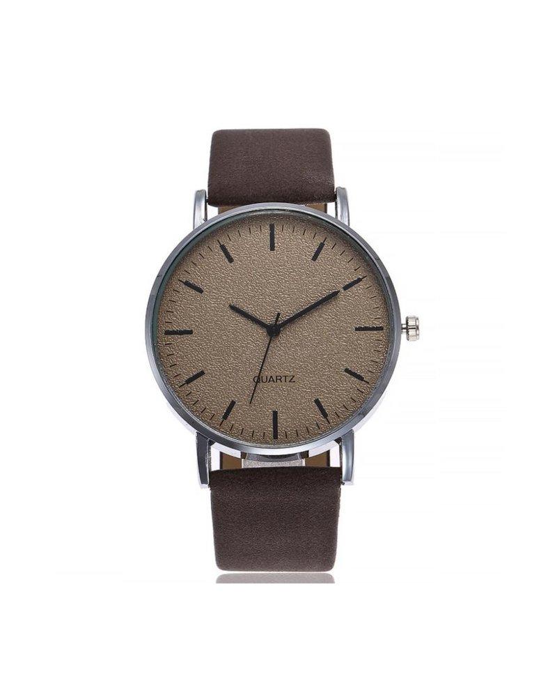 Fashion Favorite Stone Dark Brown Quartz Horloge | Bruin | PU Lederen Band