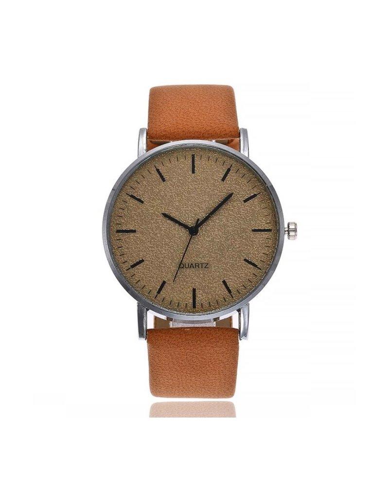Fashion Favorite Stone Cognac Quartz Horloge | Bruin | PU Lederen Band |