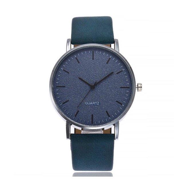 Stone Blue Quartz Horloge | Blauw | PU Lederen Band