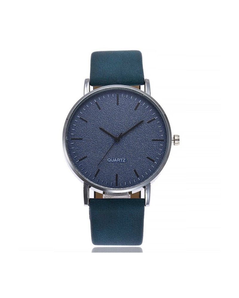 Fashion Favorite Stone Blue Quartz Horloge | Blauw | PU Lederen Band