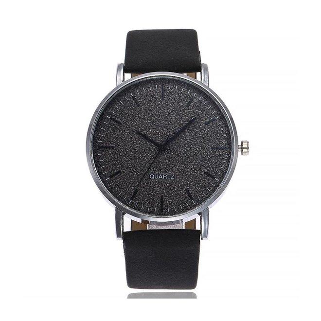 Stone Black Quartz Horloge | Zwart | PU Lederen Band