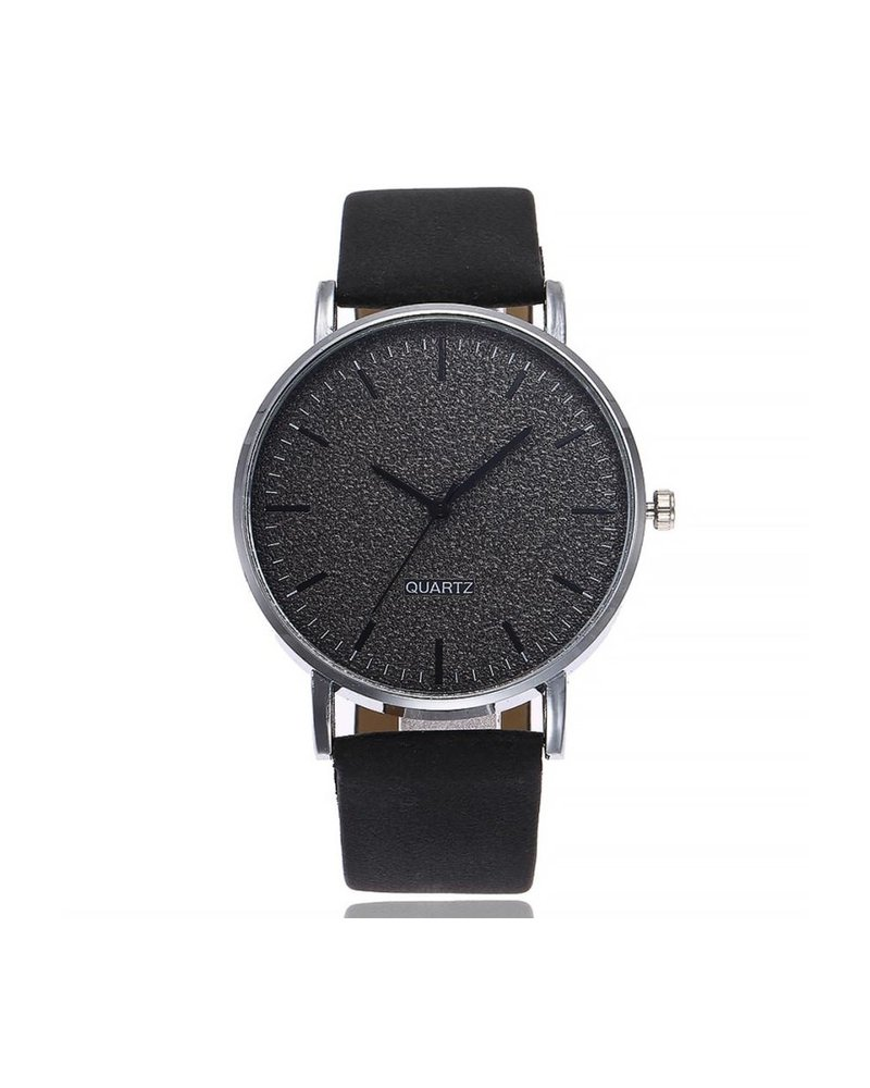 Fashion Favorite Stone Black Quartz Horloge | Zwart | PU Lederen Band