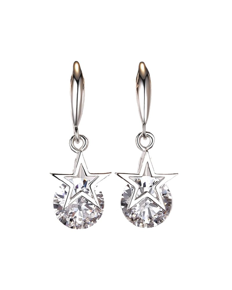 Fashion Favorite Star Crystal Drop Oorbellen | 925 Zilver | Ster + Kristal