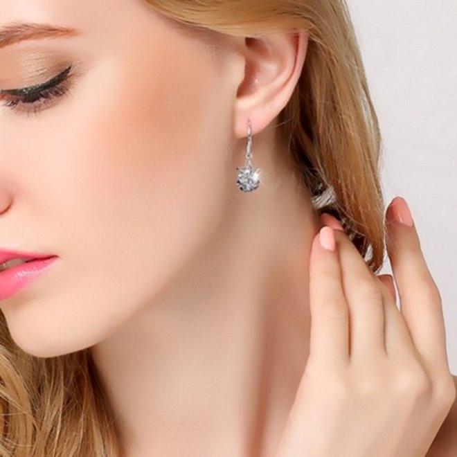Star Crystal Drop Oorbellen   925 Zilver   Ster + Kristal