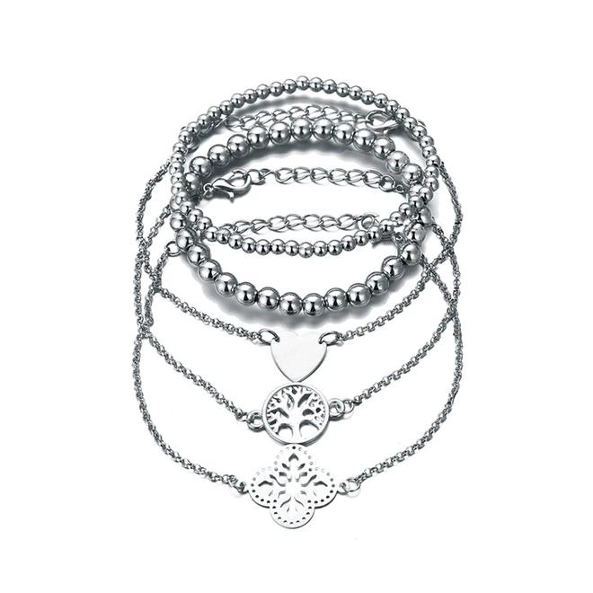 Set Armbanden Symbol   5 - delig   Zilverkleurig   18-19,5 cm