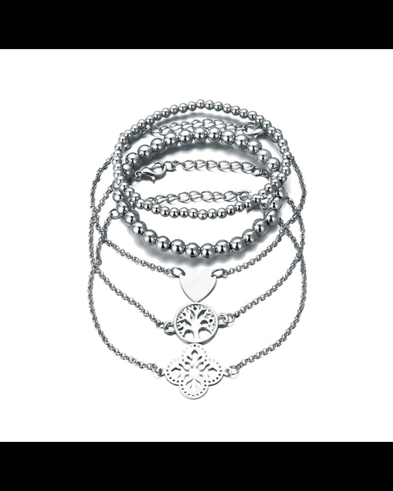 Fashion Favorite Set Armbanden Symbol | 5 - delig | Zilverkleurig | 18-19,5 cm