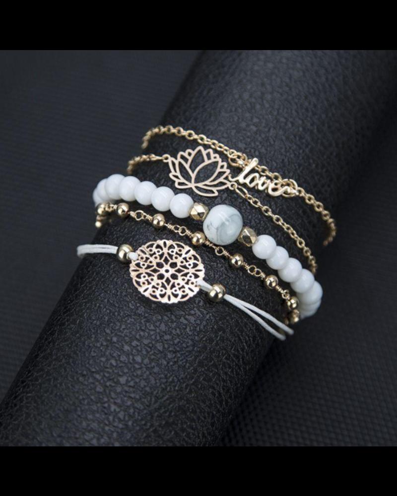 Fashion Favorite Set Armbanden Love | 5 - delig | Goudkleurig | 17,5-21 cm