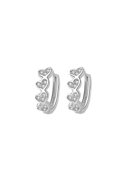 Fashion Favorite Zilveren Zirkonia Hart ❤ Oorbellen
