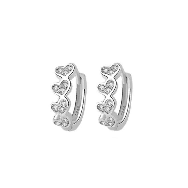 Zilveren Zirkonia Hart Oorbellen   Klapoorringen   11 mm x 4,5 mm   Scharniersluiting