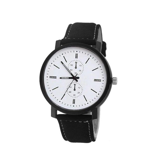 Pollock White Quartz Horloge | Zwart/Wit | Kunstleder | Ø 45 mm