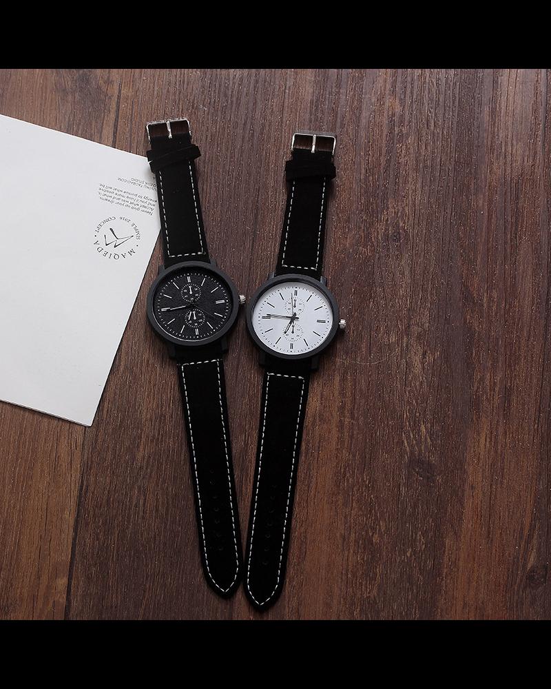 Fashion Favorite Pollock White Quartz Horloge   Zwart/Wit   Kunstleder   Ø 45 mm