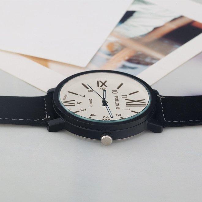 Pollock Roman White Quartz Horloge   Zwart/Wit   Kunstleder   Ø 45 mm