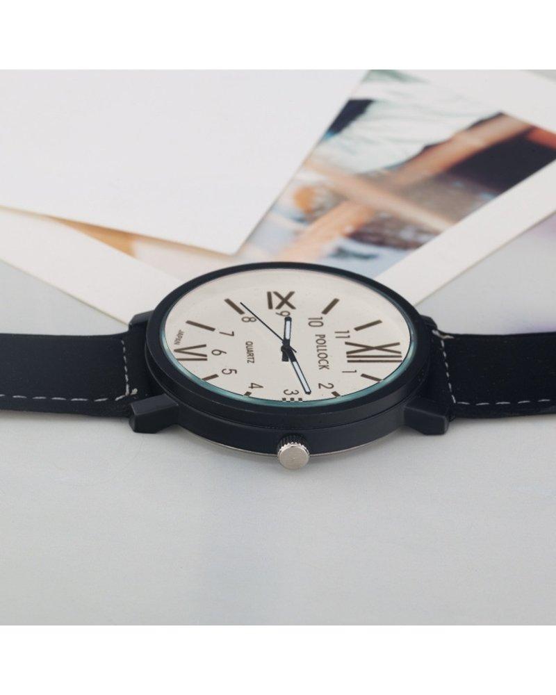 Fashion Favorite Pollock Roman White Quartz Horloge | Zwart/Wit | Kunstleder | Ø 45 mm
