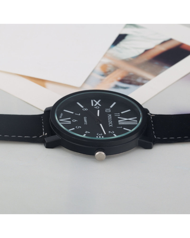 Fashion Favorite Pollock Roman Black Quartz Horloge   Zwart/Zwart   Kunstleder   Ø 45 mm