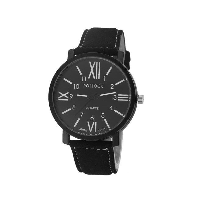 Pollock Roman Black Quartz Horloge   Zwart/Zwart