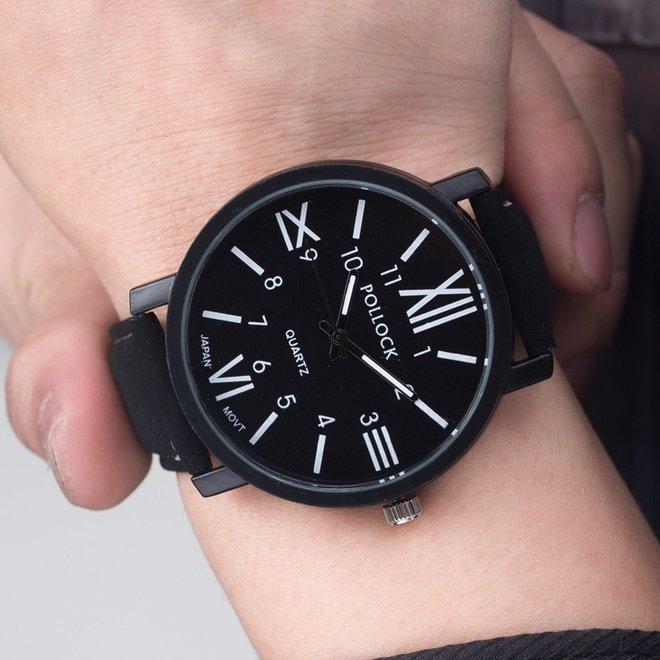 Pollock Roman Black Quartz Horloge   Zwart/Zwart   Kunstleder   Ø 45 mm