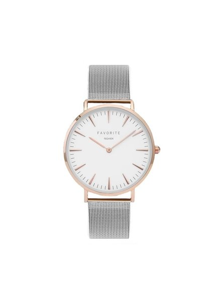 Favorite Fashion Navarra Silver/Rosé Mesh Horloge