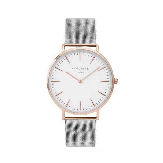 Navarra Silver/Rose Mesh Horloge
