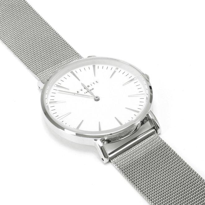 Navarra Silver Mesh Horloge | Zilverkleurig | Mesh band | Luxe Giftset/Cadeauset
