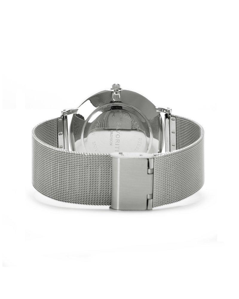 Favorite Fashion Navarra Silver Mesh Horloge | Zilverkleurig | Mesh band | Luxe Giftset/Cadeauset