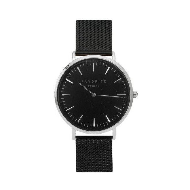 Navarra Silver / Black Mesh 2.0 Horloge