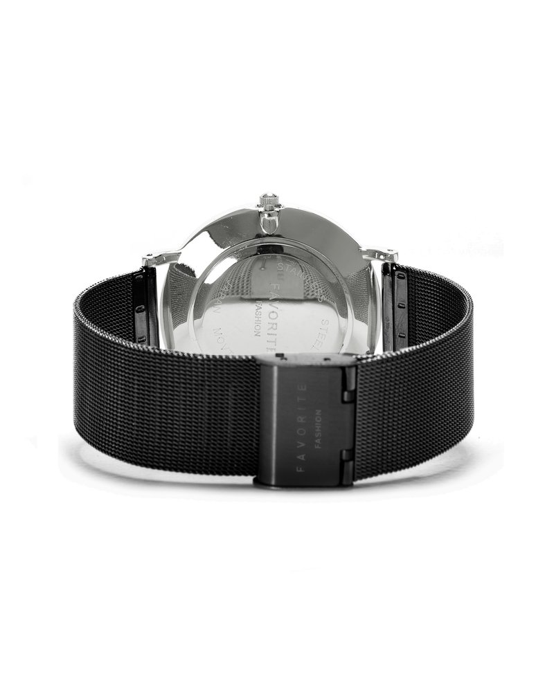 Favorite Fashion Navarra Silver / Black Mesh 2.0 Horloge | Zilverkleurig & Zwart | Mesh band | Luxe Giftset/Cadeauset