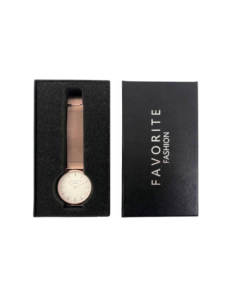 Favorite Fashion Navarra Rosegold Mesh 2.0 Horloge | Rosekleurig | Mesh band | Luxe Giftset/Cadeauset