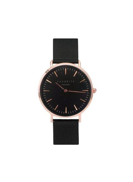 Favorite Fashion Navarra Rosé / Black Mesh 2.0 Horloge