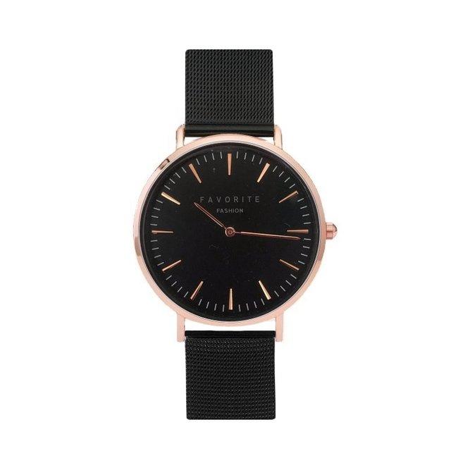Navarra Rose / Black Mesh 2.0 Horloge