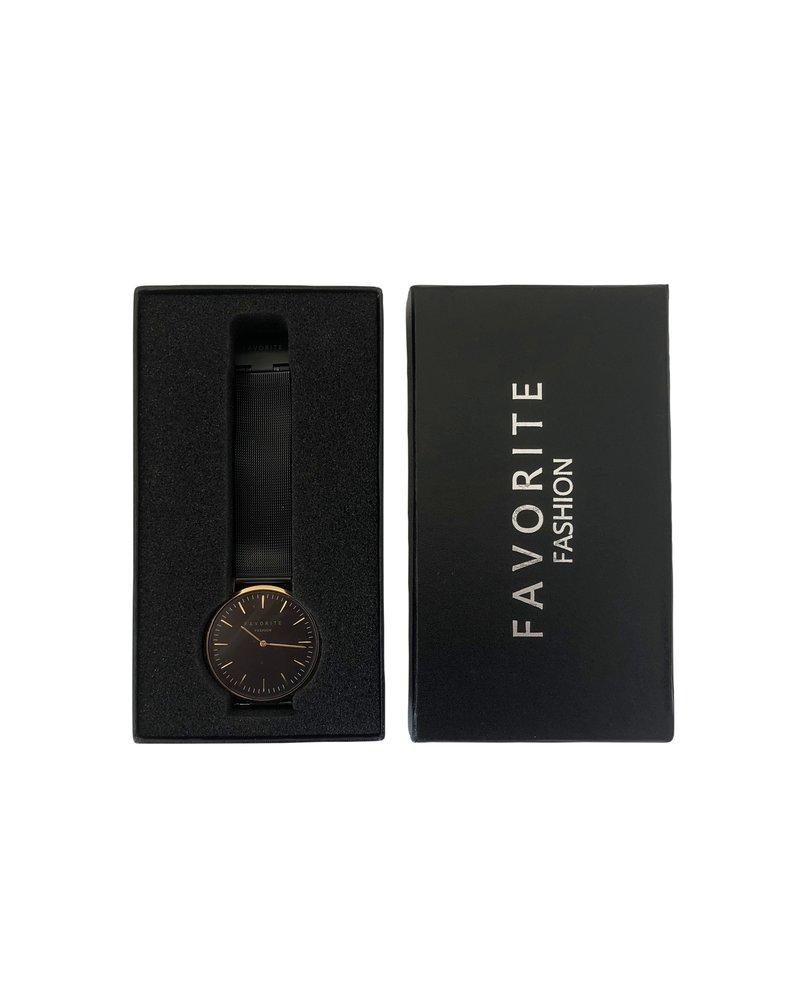 Favorite Fashion Navarra Rosé / Black Mesh 2.0 Horloge | Rosekleurig & Zwart | Mesh band | Luxe Giftset/Cadeauset