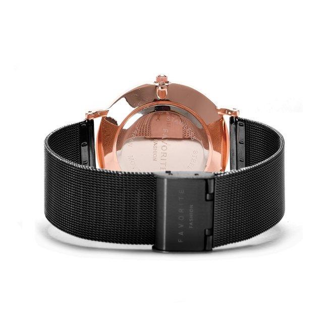 Navarra Rosé / Black Mesh 2.0 Horloge | Rosekleurig & Zwart | Mesh band | Luxe Giftset/Cadeauset