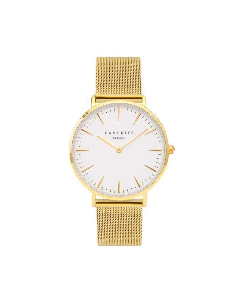 Favorite Fashion Navarra Gold Mesh 2.0 Horloge | Goudkleurig | Mesh band | Luxe Giftset/Cadeauset