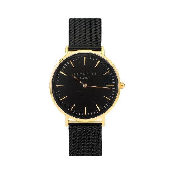 Navarra Gold / Black Mesh 2.0 Horloge   Goudkleurig & Zwart   Mesh band   Luxe Giftset/Cadeauset