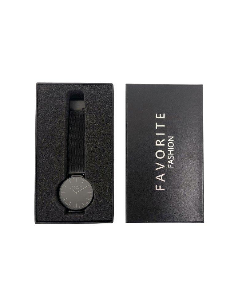 Favorite Fashion Navarra Full Black Mesh 2.0 Horloge | Zwart | Mesh band | Luxe Giftset/Cadeauset