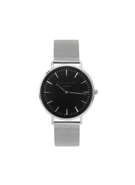 Favorite Fashion Navarra Black / Silver Mesh 2.0 Horloge