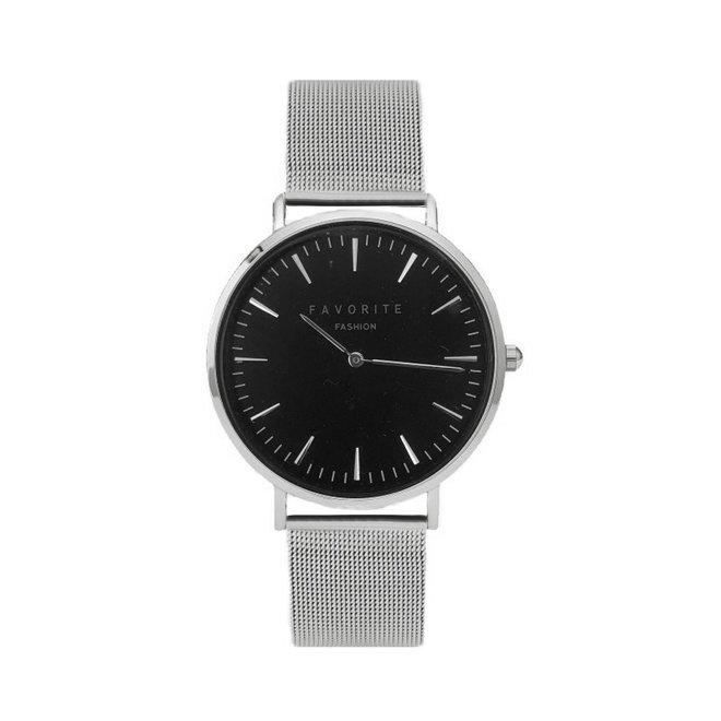 Navarra Black / Silver Mesh 2.0 Horloge | Zwart & Zilverkleurig | Mesh band | Luxe Giftset/Cadeauset