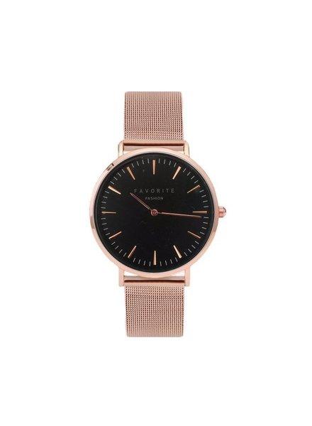 Favorite Fashion Navarra Black / Rosé Mesh 2.0 Horloge