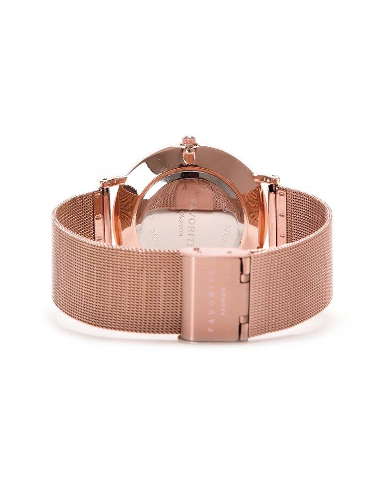 Favorite Fashion Navarra Black / Rosé Mesh 2.0 Horloge | Zwart & Rosekleurig | Mesh band | Luxe Giftset/Cadeauset